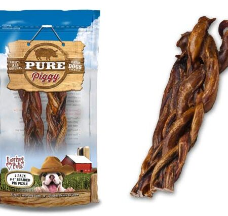 "2Pk 6-7"" Braided Pig Pizzle"